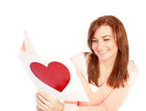 Woman reading love letter Royalty Free Stock Photography