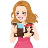 Woman Reading Magazine. Beautiful happy woman reading girls hairstyle fashion magazine vector illustration