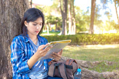 Woman reading a map Royalty Free Stock Photo
