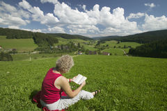 Woman reading on the meadow royalty free stock image
