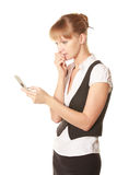 Woman reading message Stock Photo