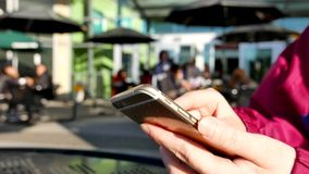 Woman reading mobile phone message stock video