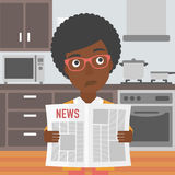 Woman reading newspaper. Royalty Free Stock Photo