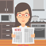 Woman reading newspaper. A woman reading the newspaper on the background of kitchen vector flat design illustration. Square layout Royalty Free Stock Photo