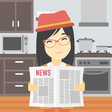 Woman reading newspaper vector illustration. Royalty Free Stock Photography