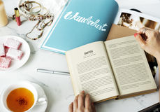 Woman Reading Novel Fiction Magazine Relax Hobby Concept Stock Photo