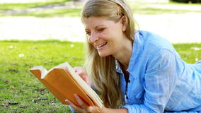 Woman reading a novel. In a park stock video