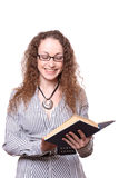Woman reading old book Stock Image