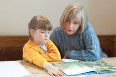 Woman reading storybook. A woman reading a small girl a storybook Royalty Free Stock Photography