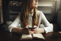 Woman Reading Studying Cafe Restaurant Relaxation Concept. Woman Reading Studying Cafe Restaurant Relaxation royalty free stock photography