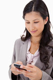 Woman reading text message Stock Images