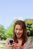 Woman reading a text message in a park Royalty Free Stock Images