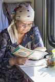 Woman reading in the train,russian federation Royalty Free Stock Image
