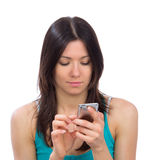 Woman reading typing texting sending SMS text message mobile Stock Photo