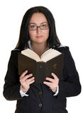 A woman reads the Bible Royalty Free Stock Photography