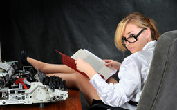 The woman reads document. Royalty Free Stock Images