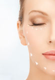 Woman ready for cosmetic surgery. Picture of beautiful woman ready for cosmetic surgery Stock Image