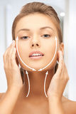Woman ready for cosmetic surgery. Picture of beautiful woman ready for cosmetic surgery Stock Images