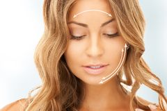Woman ready for cosmetic surgery. Picture of beautiful woman ready for cosmetic surgery Royalty Free Stock Photo