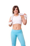 Woman ready for exercise Royalty Free Stock Photos
