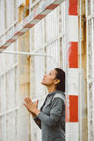 Woman ready for fitness chin up strength workout Royalty Free Stock Photography