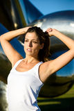 Woman ready for fitness workout outdoor Stock Photography