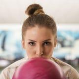 Woman ready playing bowling Royalty Free Stock Photo