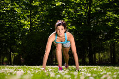 Woman ready for running in park Royalty Free Stock Photography