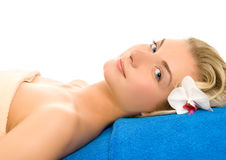 Woman ready for spa treatment. Beautiful young woman ready for spa treatment Royalty Free Stock Photos
