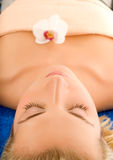 Woman ready for spa treatment. Beautiful young woman ready for spa treatment Stock Images