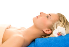 Woman ready for spa treatment Stock Images