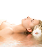 Woman ready for spa treatment Royalty Free Stock Images