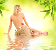 Woman ready for spa treatment Stock Photos