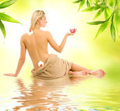 Woman ready for spa treatment. Beautiful young woman ready for spa treatment Stock Photography