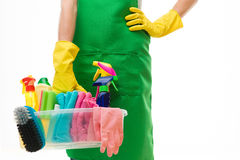 Woman ready for spring cleaning Royalty Free Stock Image