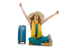 Woman ready for summer holiday stock photography
