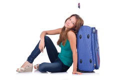 Woman ready for summer holiday isolated Stock Photos