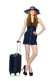 Woman ready for summer holiday isolated Stock Photo