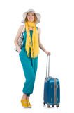 Woman ready for summer holiday isolated Royalty Free Stock Photo