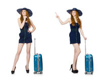 The woman ready for summer holiday isolated on white Stock Photo