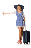 Woman ready for summer travel isolated on white Royalty Free Stock Photo