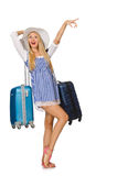 Woman ready for summer travel isolated on white Stock Image