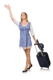 Woman ready for summer travel isolated on white Royalty Free Stock Photos
