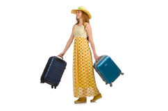 Woman ready for summer travel isolated on white Stock Photos