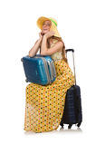 Woman ready for summer travel isolated on white Royalty Free Stock Image