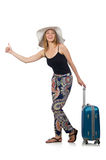 Woman ready for summer travel isolated on white Stock Images