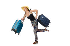 Woman ready for summer travel isolated on white Royalty Free Stock Photography