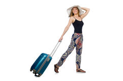Woman ready for summer travel isolated on white Royalty Free Stock Images