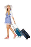 The woman ready for summer travel isolated on Royalty Free Stock Photography