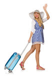 The woman ready for summer travel isolated on Stock Photos